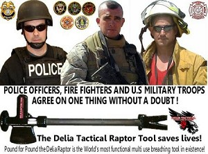 Delia Tactical Multi Purpose Raptor Tool - PRY BAR-AXE-SLEDGE HAMMER-DOOR RAM-HYDRANT WRENCH-GAS SHUT OFF